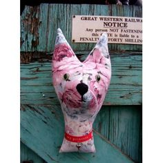 Faux   taxidermy , shabby chic. Cat lady starter kit.  Cat  trophy head. Vintage flowered fabric, upcycled.