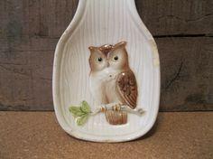 Vintage Owl Spoon Rest on Etsy, $4.00