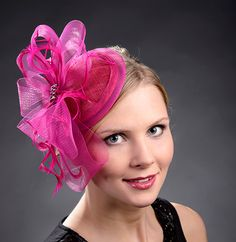 Hot pink petite fascinator hat for weddings Ascot by MargeIilane