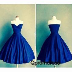 Cute navy blue satin sweetheart dress for prom 2016, bridal dress, prom dresses short