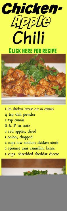 Healthy Recipes: Chicken Apple Chili - Michelle Marie Fit Crock Pot Recipes, Bean Recipes, Chili Recipes, Healthy Eating Tips, Healthy Dishes, Healthy Chicken Recipes, Healthy Snacks, Recipe Chicken, Best Chili Recipe