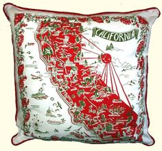 Lg CALIFORNIA Map PILLOW Made from Kitchen Towels So COOL!