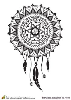 Un grand Mandala fleur attrapant les cauchemars à colorier