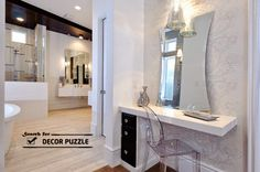 white modern dressing table design with mirror
