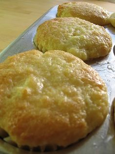 Lemon Cream Cheese Muffins  1 1/4 cup flour,1 1/2 tsp baking powder,1/2 tsp salt, 2/3 cup sugar, 4 oz cream cheese, cut into 1/4 inch cubes, 1 egg, 1/3 cup oil  1/2 cup milk, 1 tbsp LJ, 1 tbsp grated lemon peel, 2 tbsp lemon juice  2 tbsp sugar-Combine flour, BP, salt, sugar in a large bowl. Add the cream cheese & using a pastry blender or your hands, work it until small and large chunks of cream cheese remain. Beat together egg, oil, milk, 1 tbsp lemon juice & sugar & brush on hot muffins…