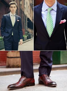 Navy suit with a nice green tie. Don't forget the handkerchief! Green Tie, Blue Green, Midnight Blue Suit, March Colors, Wedding Book, Wedding Wishes, Color Combos, Vintage Inspired, Groom