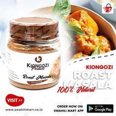 Cookery is an art. It requires instinct and taste, get Roast Masala from Kiongozi Products to make your food taste awesome today. You order this product on Swahili Mart mobile app Link on the BIO or through our website Link www.swahilimart.co.tz Website Link, Mobile App, Candle Jars, Beverage, Roast, Make It Yourself, Awesome, Food, Products