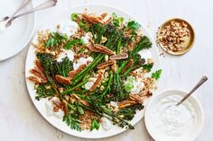 broccolini & wheat berry salad with figs (or dates) and lemon-scallion yogurt