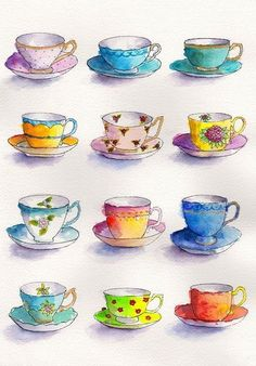 Tea Cup Art, Tea Cups, Easy Watercolor, Watercolor Paintings, Tea Cup Drawing, Buch Design, My Tea, Watercolor Illustration, Art Lessons