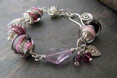 Lampwork Bracelet Silver Wire Wrapped by sundownbeaddesigns, $110.00