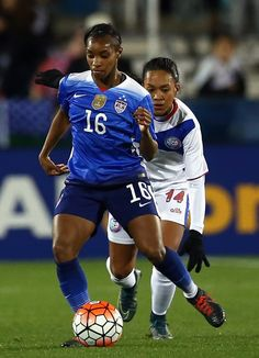 818e9d5c4 Crystal Dunn dribbles the ball against Ashley Rivera of Puerto Rico during  CONCACAF Women s Olympic Qualifying at Toyota Stadium on February 2016 in  Frisco