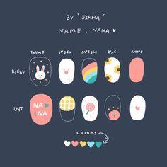 Summer Acrylic Nails, Cute Acrylic Nails, Cute Nails, Pretty Nails, Korean Nail Art, Korean Nails, K Pop Nails, Swag Nails, Anime Nails