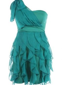 One Shoulder Ruffle Dress,  Dress, Cocktail Dress  Mini Dress  Ruffle Dress, Chic