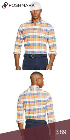 New! Ralph Lauren Plaid Oxford Shirt 100% Cotton Made from ultra-soft cotton oxford, this preppy plaid shirt, from Polo Ralph Lauren, is a timeless classic. Match it with crisp pants for a look you'll wear all season.  Applied buttoned placket Ralph Lauren's signature embroidered pony accents the left chest Button-down point collar Long sleeves with buttoned barrel cuffs Split back yoke with a box pleat ensures a comfortable fit and a greater range of motion Shirttail hem 100% Cotton…