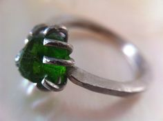 14kt white gold engagement ring green stone Customize yours Click here www.MelissaTysonDesigns.etsy.com