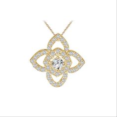 The timeless fire and dazzle of diamonds is on gorgeous display in this lovely Floral Motif Halo Diamond Pendant. A stylized design is exquisitely rendered in lustrous 14k gold, set with sparkling diamonds.This astonishing diamond can be in your choice of clarity between VS,SI & I1 and color G-H or I-J and this diamond pendant can be purchased with or without chain depending upon your selection. This piece is definitely a unique one. www.glitzdesign.us