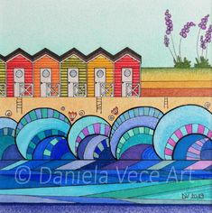 Colorful beach cabins in a seaside landscape. The waves are an integral part of the drawing, they create a continuous movement. Markers, Picture Frames, Drawings, Painting, Seaside, Art, Color, Colours
