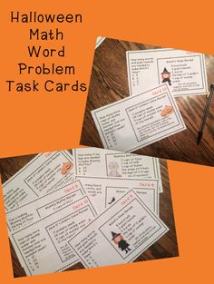 Halloween Word Problems Task Cards for Addition, Subtraction, Multiplication, and Division