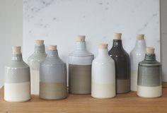 light grey olive oil bottle. off white by vitrifiedstudio on Etsy