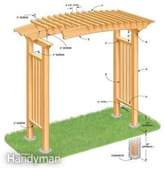 The pergola kits are the easiest and quickest way to build a garden pergola. There are lots of do it yourself pergola kits available to you so that anyone could easily put them together to construct a new structure at their backyard. Diy Pergola, Diy Arbour, Garage Pergola, Building A Pergola, Pergola Swing, Cheap Pergola, Wooden Pergola, Outdoor Pergola, Pergola Shade
