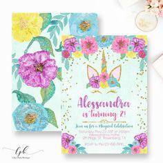 Invitación de cumpleaños de unicornio unicornio Floral
