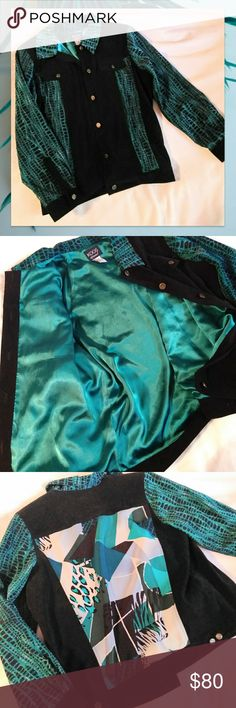 🔶 Vintage Black Teal Blazer sz Large Light Jacket 🔶 Vintage Black Teal Blazer sz Large Light Jacket Perfect condition! This has light shoulder pads. Silky satin lining. Absolutely gorgeous with jeans or skirts. Jackets & Coats Pea Coats