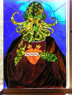 """Stained Glass """"Jeebus Cthulhu"""" by Future-Vintage Art based on H. Lovecraft's fictional nightmares is very often oriented toward two di. Stained Glass Projects, Stained Glass Art, Stained Glass Windows, Kraken, Theo Van Doesburg, Pen & Paper, Call Of Cthulhu, Art Base, Tentacle"""