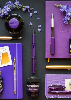 Bold purple and glittering gold make these fountain pens and ink stand out! Love this collection.