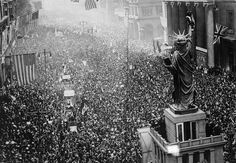 Thousands of people celebrate the end of the First World War on Broad Street, Philadelphia. November 11, 1918