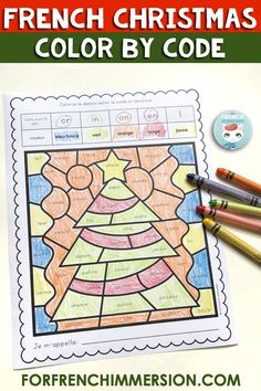 Working on French phonics has never been so fun! These Christmas-themed color by code worksheets will get your French Immersion or Core French students coloring the images and working on French sounds. Each sound on the page corresponds to a color they need to use to cover all the words that include that sound. Pour les centres de littératie de Noël. Check out these French Christmas printable worksheets!