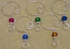 10 Beaded Christmas Ornament Hangers Multicolor Donuts Silver $10.75