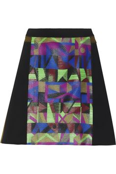 Creatures of the Wind|Jacquard-paneled twill skirt