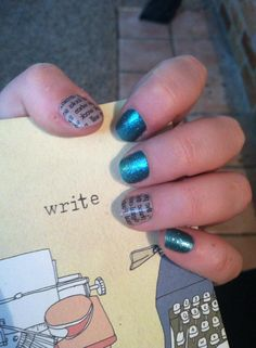 Writers are LOVING the Newspaper Jamberry wrap! (shown here with Jaded) http://sarahnf.jamberrynails.net/product/news-paper-on-neutral