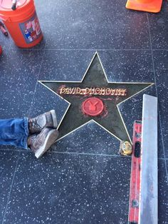 Getting david duchovny's Hollywood Walk of Fame star ready for next Monday's ceremony. #HWOF #TheXFiles #Aquarius #HellorHighwater