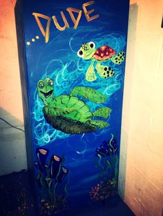 Finding Nemo Artwork - Crush & Squirt We love how we updated our pool house by painting underwater themed art on walls and appliances.