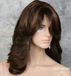 Trends Sexy Women Wig Mix Brown Highlighting Medium Wavy Synthetic Hair for sale online Stacked Bob Hairstyles, Wig Hairstyles, Sexy Women, Cosplay, Womens Wigs, Long Hair Cuts, Brunette Hair, Synthetic Wigs, Hair Pieces