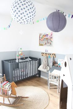 I love the half painted walls and contrasting colors! Brought together with a rustic natural looking wood floor and woven area rug! Baby Bedroom, Nursery Room, Boy Room, Kids Bedroom, Nursery Decor, Kids Rooms, Nursery Design, Childrens Room, Half Painted Walls