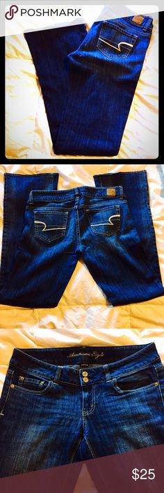 AEO Artist bootcut jeans 8L American Eagle Outfitters Artist style bootcut jeans in size 8 Long.  Excellent used condition with no flaws.  Only worn a handful of times. 99% cotton/1% Spandex. American Eagle Outfitters Jeans Boot Cut