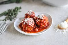 Mini Turkey Meatballs  Everyone needs a comfort food fix every once in a while. Enter these healthy mini turkey meatballs, made with lean ground meat, olive oil, quinoa, and antioxidant-rich tomatoes. Serve them with whole-wheat pasta, crusty bread, or a side of warm roasted veggies.