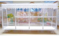 Dollhouse Miniature Cabinet Display Rack Counter Acrylic Showcase Dolls house Miniatures Decoration Show Case One Inch Scale Diorama Display Shelves, Display Case, Bjd, Acrylic Cabinets, Halloween Displays, Doll Food, Tiny Dolls, Miniature Furniture, Scrapbook Supplies