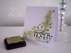 """Penny Black Winter Bough   The die cut """"Merry"""" is from Papertrey, which I've layered up in dark ..."""