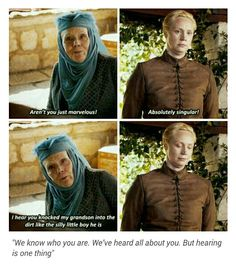 I love that the show gets to have random characters like this cross paths, this was a great moment, Lady Olenna, Brienne, and Margaery are all too much (too smart, too fierce, too strong) for the restraints placed on their gender and have each chosen to handle it in different ways. I love Brienne clearly bracing herself to be insulted and a little thrown by getting praised instead
