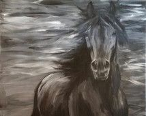 Large acrylic painting on canvas black and white horse / huge artwork / trotting horse / expressionism / 115 cm x 75 cm acrylic on canvas