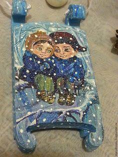 Small wooden sleigh Masha and Kolya. Winter by DecorElegancy