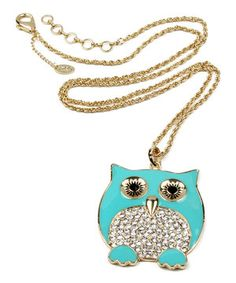 Love this Amrita Singh Turquoise & Gold Chubby Owl Pendant Necklace by Amrita Singh on #zulily! #zulilyfinds