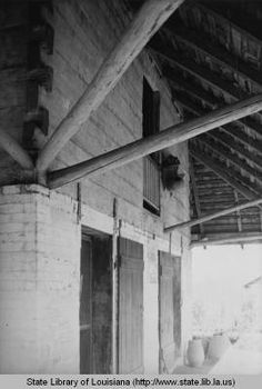 Detail of African house at Melrose plantation in Natchitoches Louisiana in 1940 :: State Library of Louisiana Historic Photograph Collection