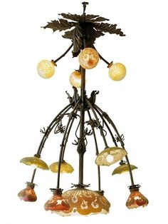 Emile Gallé (French, 1846-1904), Nancy, Bronze Chandelier with Engraved Glass Shades. (Enlarge)