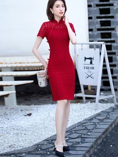 2021 Red Lace Illusion Qipao / Cheongsam Party Dress Dress P, Party Dress, Custom Made Clothing, North And South America, Cheongsam, Red Lace, Mandarin Collar, Lace Overlay, Illusions