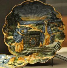 Majolique de Faenza Coupe godronnée «Le Christ et la Samaritaine», FAENZA 1575