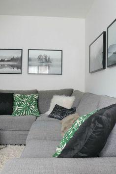 grey corner sofa, botanical print cushions